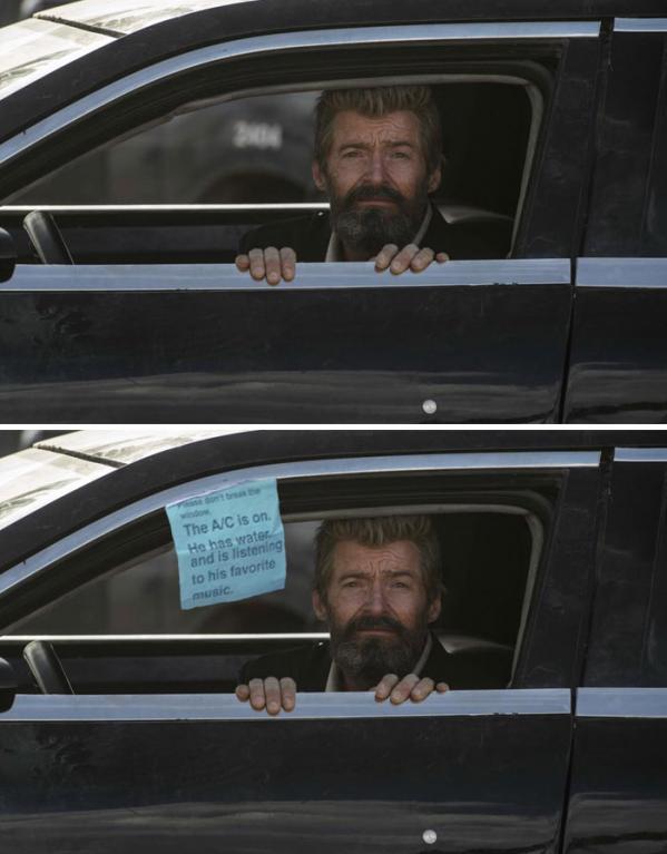 Hugh Jackman s prosebným výrazem zavřený v autě