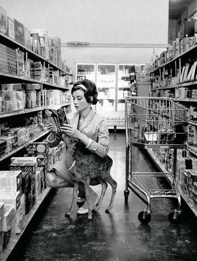 Audrey Hepburn nakupuje se svojí srnkou v Beverly Hills. (1958)
