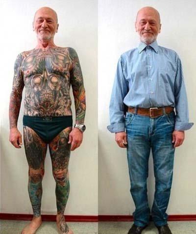 Ve stáří svá tetování lidé schovávají pod šaty