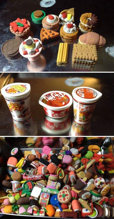 Sbírá gumy ve tvaru jídla