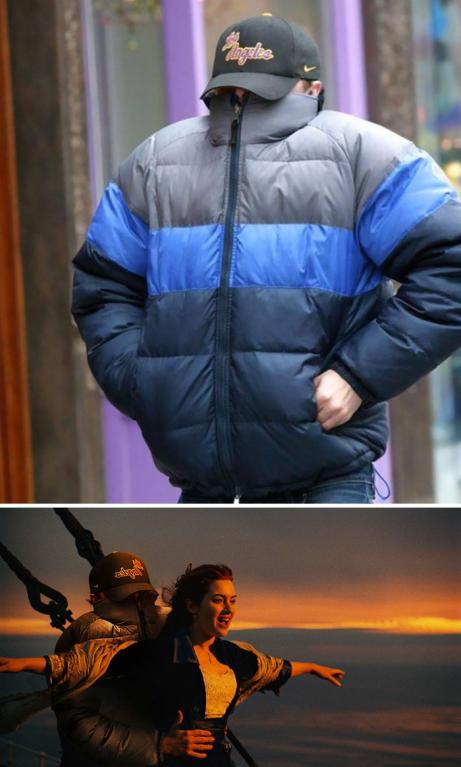 Leonardo DiCaprio schovávající se před fotografy