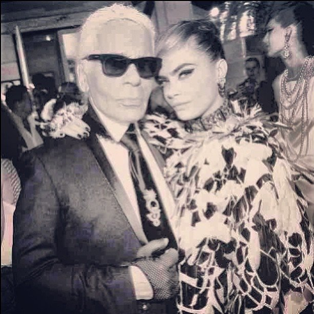Karl Lagerfeld a jeho múza, modelka Cara Delevingne