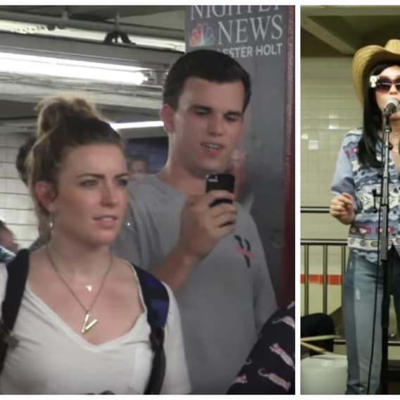Miley Cyrus v metru.