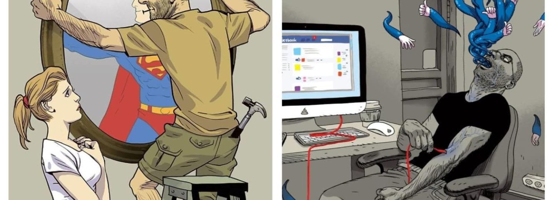 Satirické ilustrace Asafa Hanuky