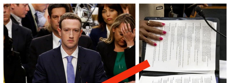Fotograf zachytitl poznámky Marka Zuckerberga při slyšení před americkými senátory.