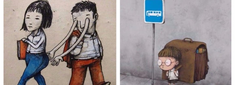 Kruté ilustrace francouzského pouličního umělce Drana