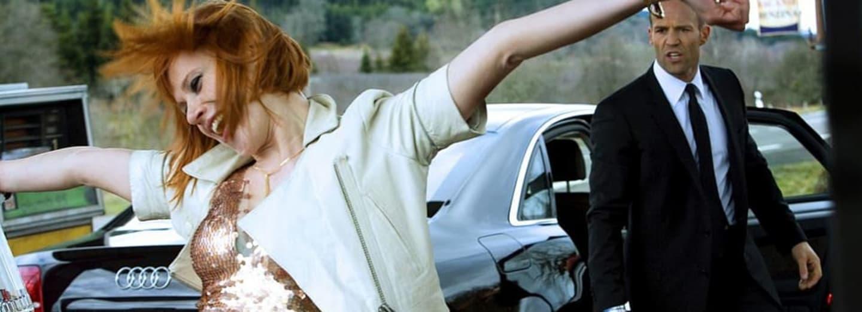 Jason Statham a Natalya Rudakova ve filmu Kurýr 3