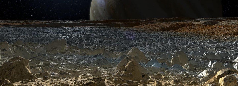 Pohled na Jupiter z povrchu Europy