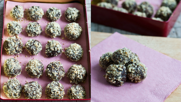 Čokoládové truffles se slanou čokoládou a ořechy