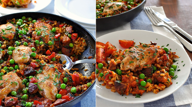 Rychlá kuřecí paella s chorizem